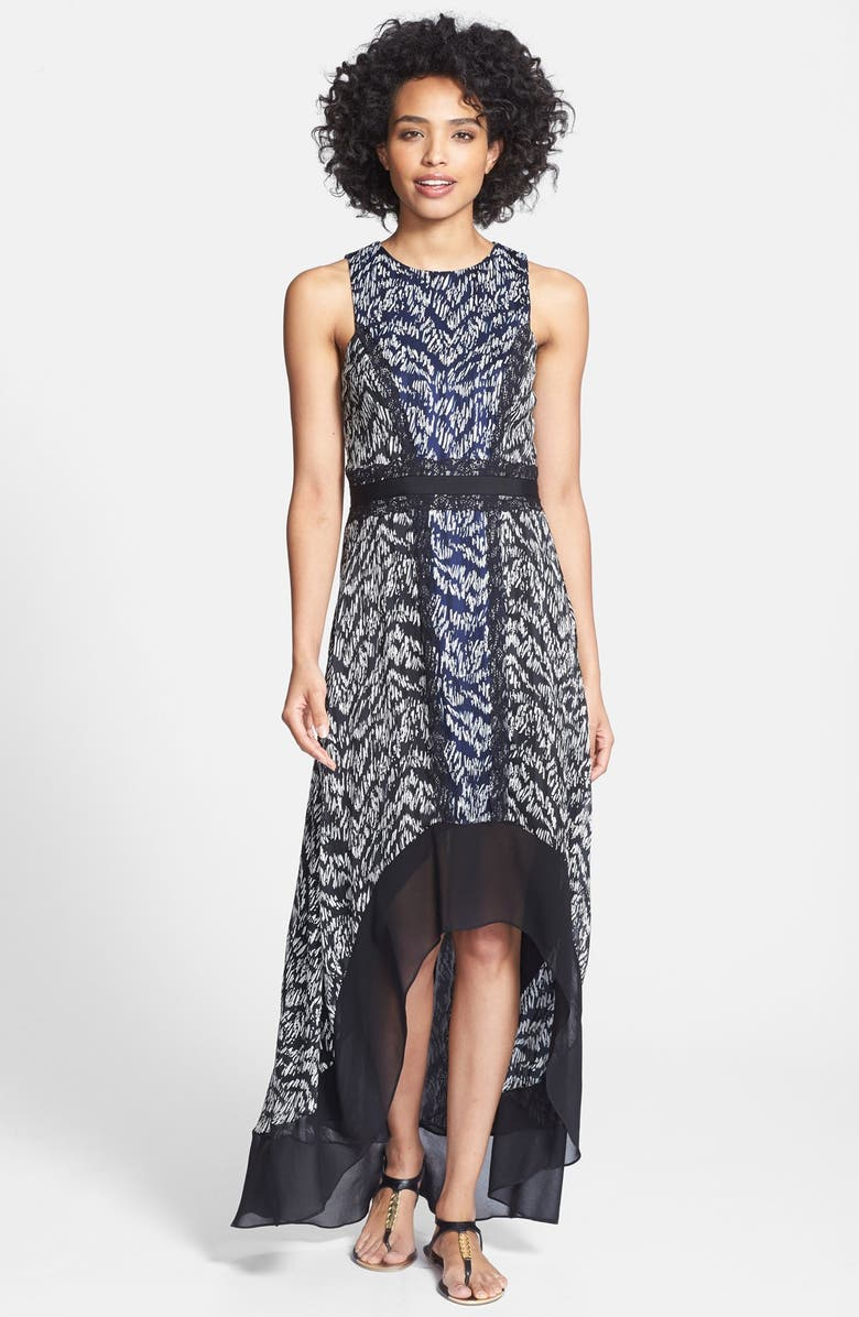 IVY & BLU Ikat Print High/Low Chiffon Maxi Dress, Main, color, 412