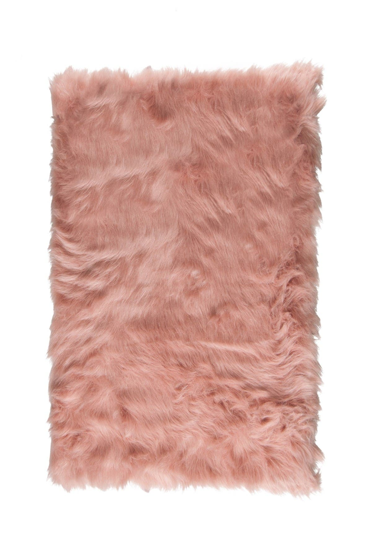 Image of LUXE Hudson Faux Sheepskin Rug - 2ft x 3ft - Dusty Rose