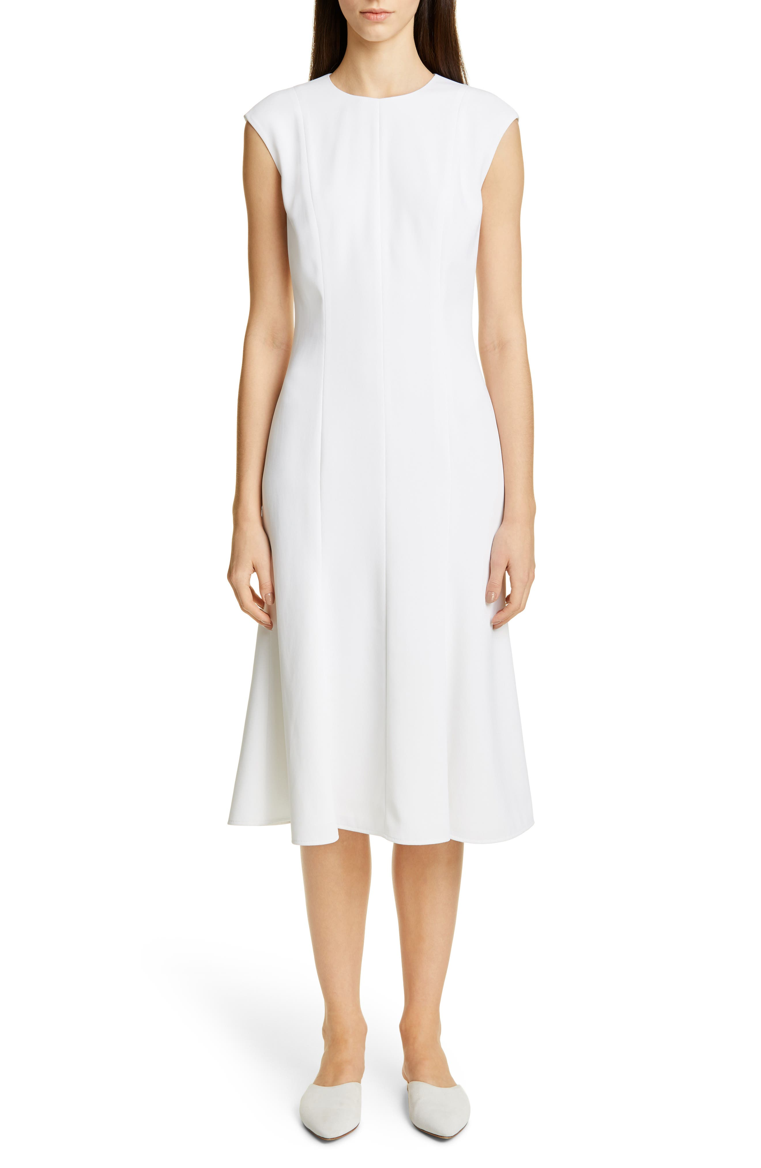 St. John Collection Stretch Cady Fit & Flare Dress, White
