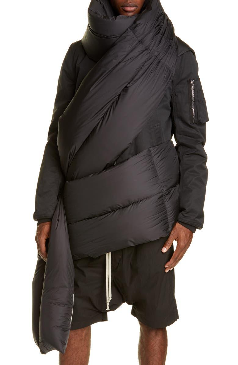 RICK OWENS Stola Piumino Down Fill Nylon Stole, Main, color, BLACK