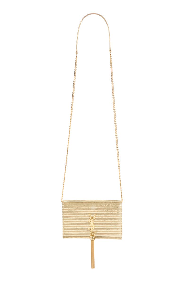 SAINT LAURENT Saint Lauren Kate Stripe Lamé Wallet on a Chain, Main, color, OR/ NOIR