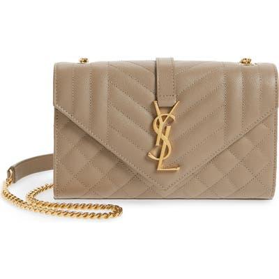 Saint Laurent Medium Cassandra Calfskin Shoulder Bag - Grey
