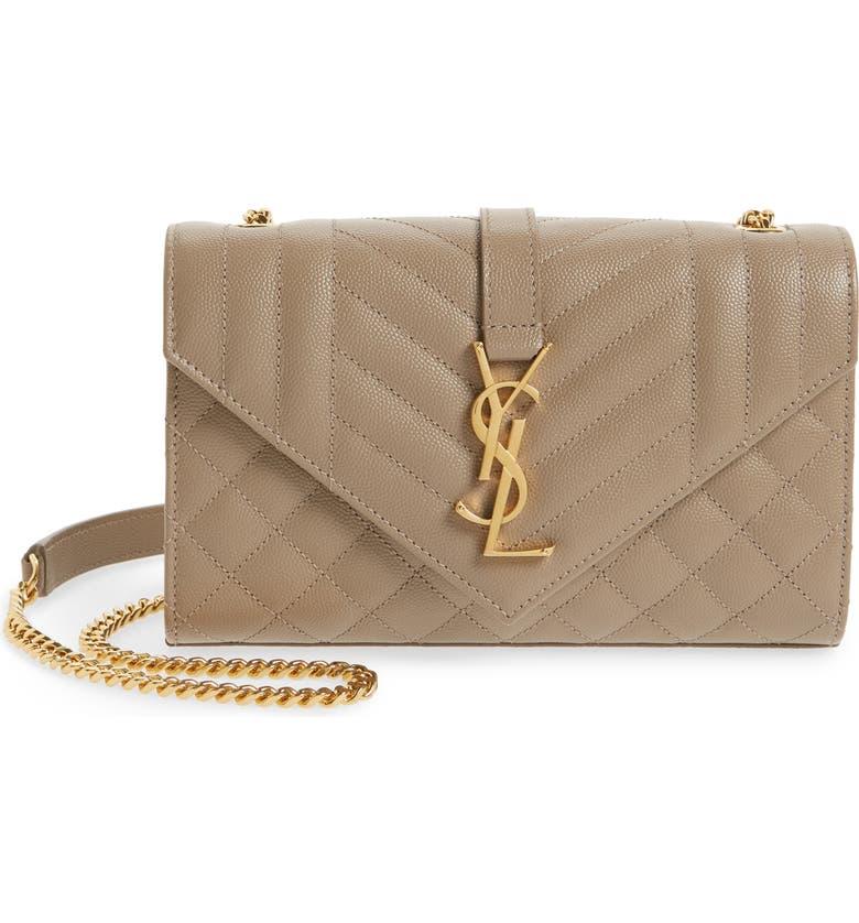 SAINT LAURENT Medium Cassandra Calfskin Shoulder Bag, Main, color, DUSTY GREY
