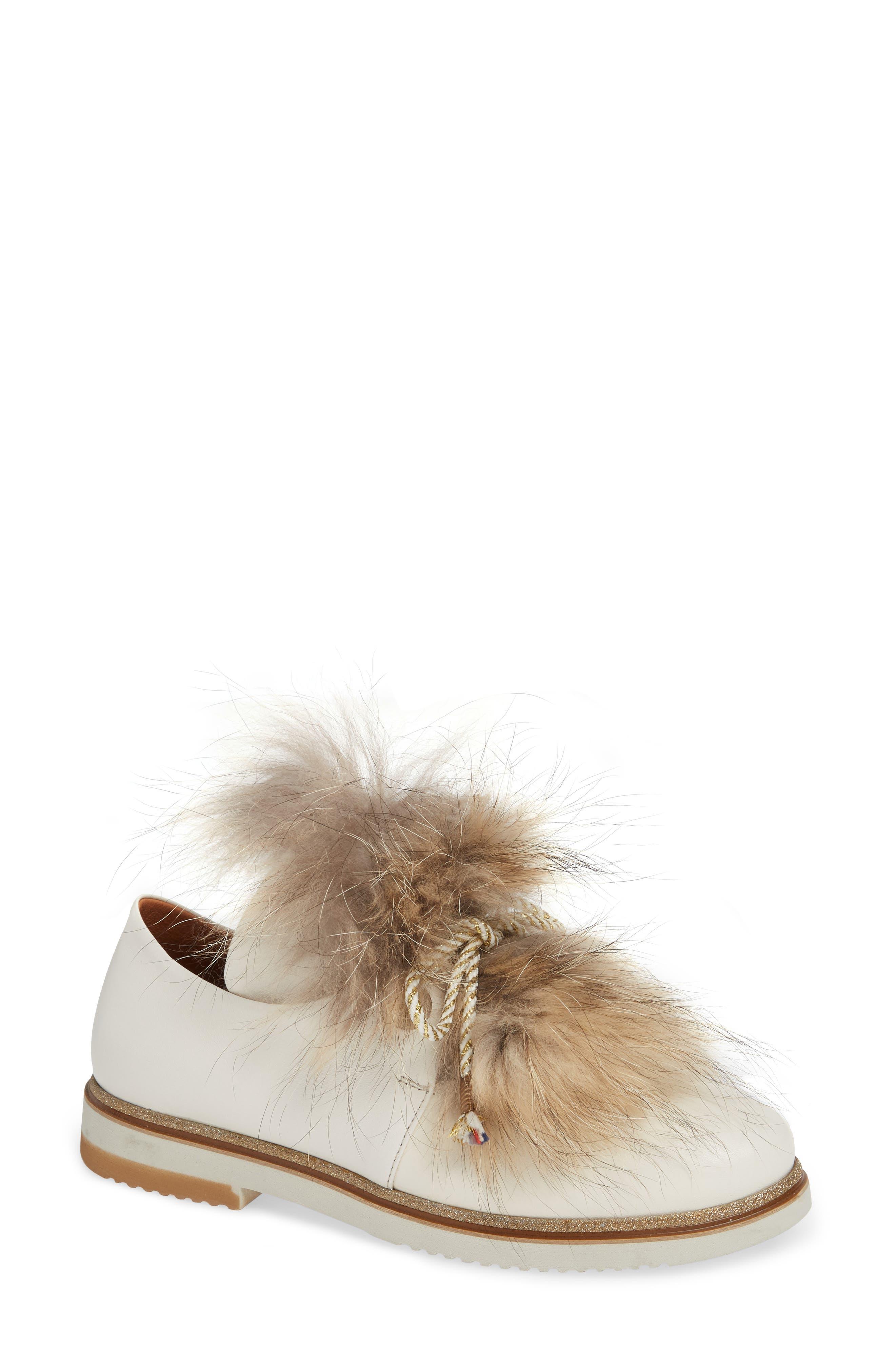 Sheridan Mia Timothee Genuine Fox Fur Flat, Beige