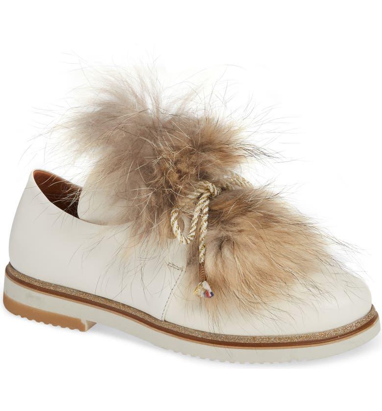 SHERIDAN MIA Timothee Genuine Fox Fur Flat, Main, color, CREAM LEATHER