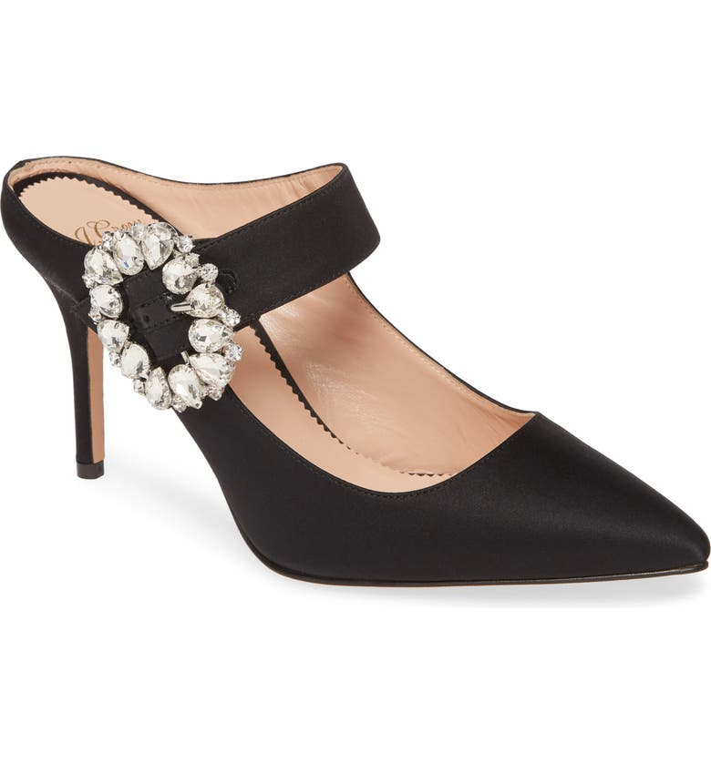 J.CREW Elsie Mary Jane Satin Mule with Jewel Buckle, Main, color, 001