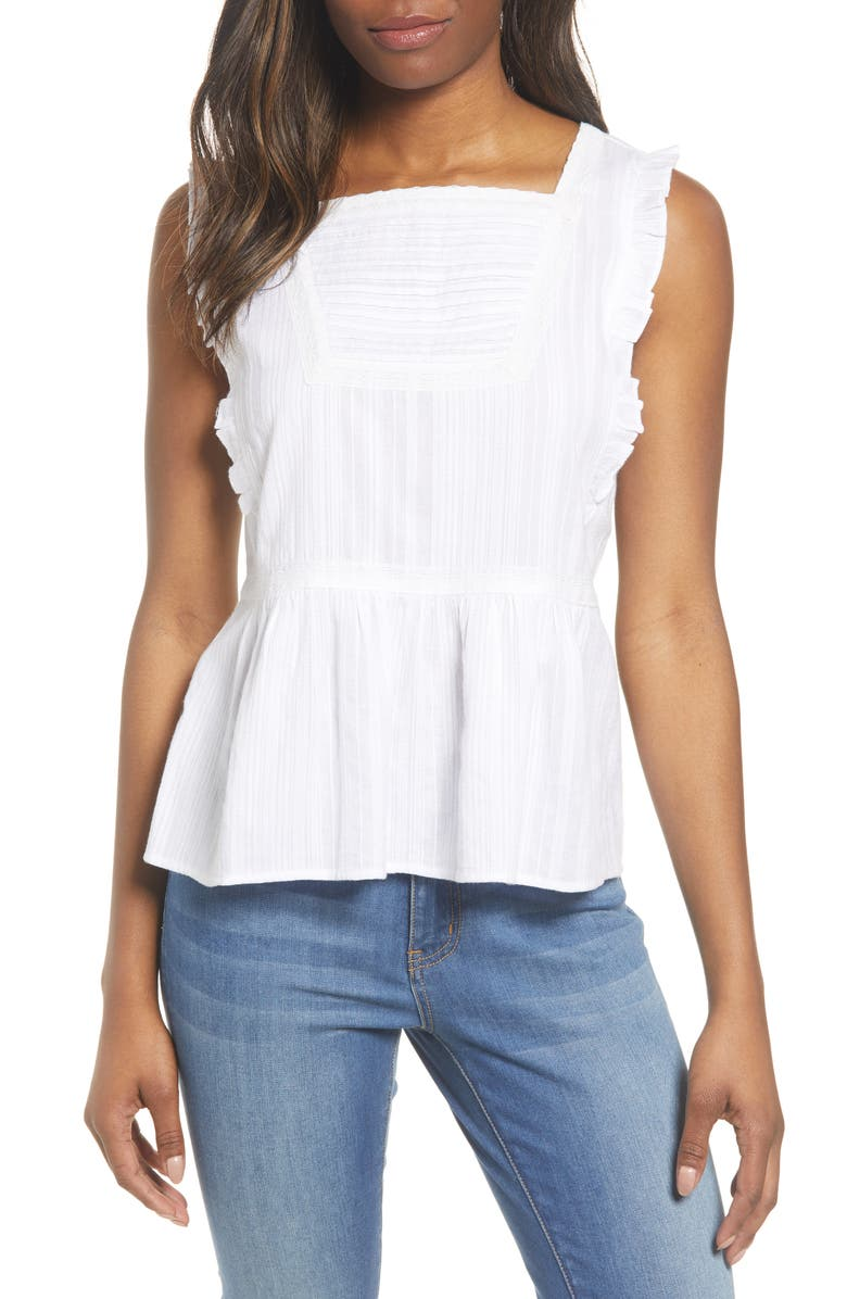 CASLON<SUP>®</SUP> Sleeveless Ruffle Peplum Top, Main, color, 100