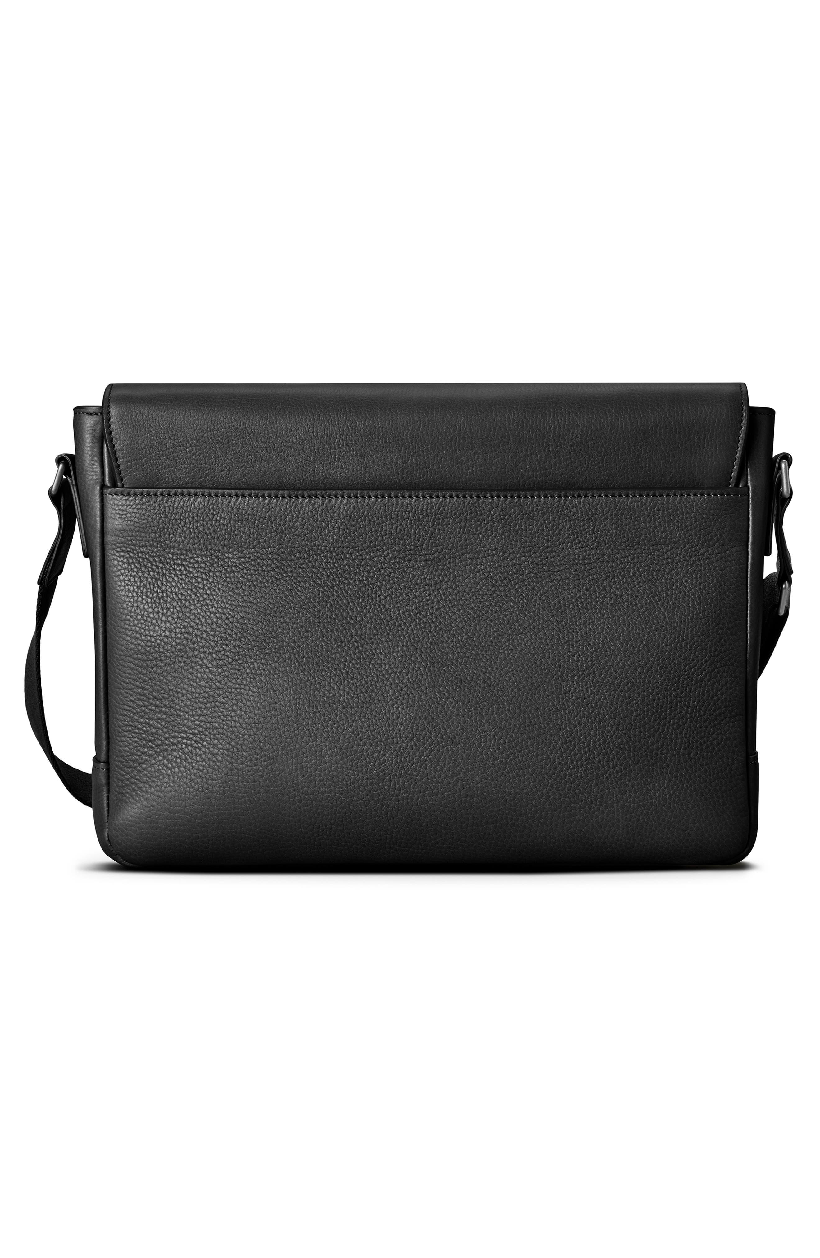,                             Slim Leather Messenger Bag,                             Alternate thumbnail 3, color,                             BLACK