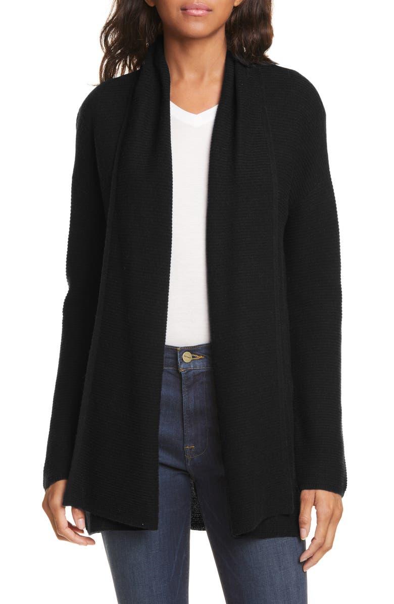 NORDSTROM SIGNATURE Rib Cashmere Cardigan, Main, color, BLACK