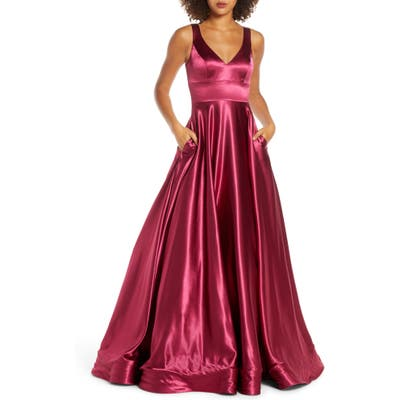 MAC Duggal V-Neck Crepe De Chine Ballgown, Red