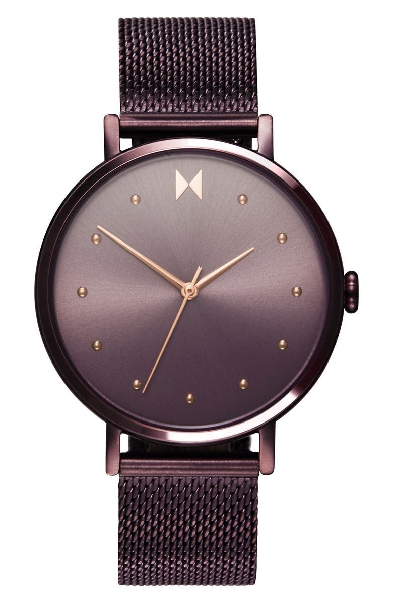 MVMT Dot Mesh Strap Watch, 36mm, Main, color, BROWN