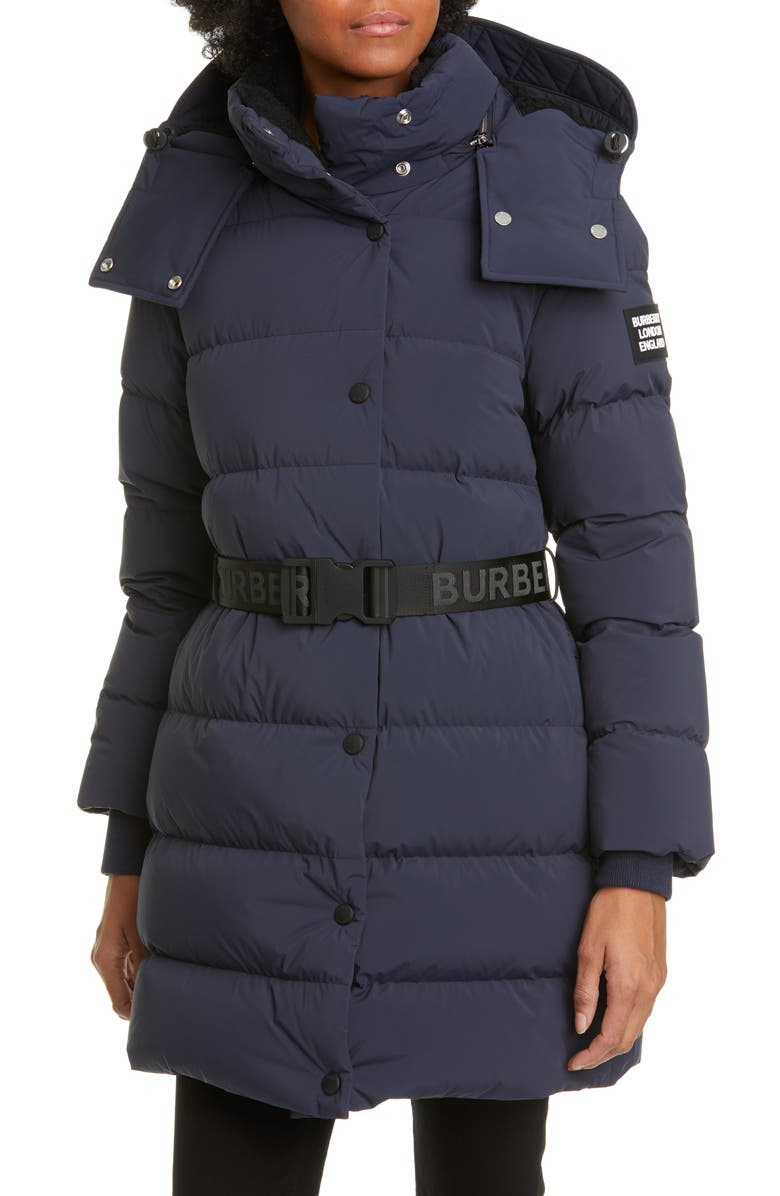 BURBERRY Eppingham Belted Down Puffer Coat, Main, color, NAVY