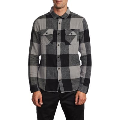 Rvca Haywire Button-Up Flannel Shirt, Grey