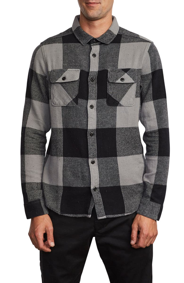 RVCA Haywire Button-Up Flannel Shirt, Main, color, 024