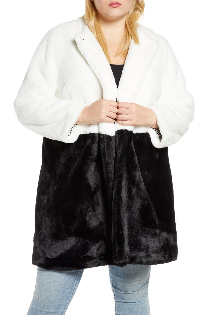 SINGLE THREAD Colorblock Faux Fur Coat, Main, color, OFF WHT/ BLK