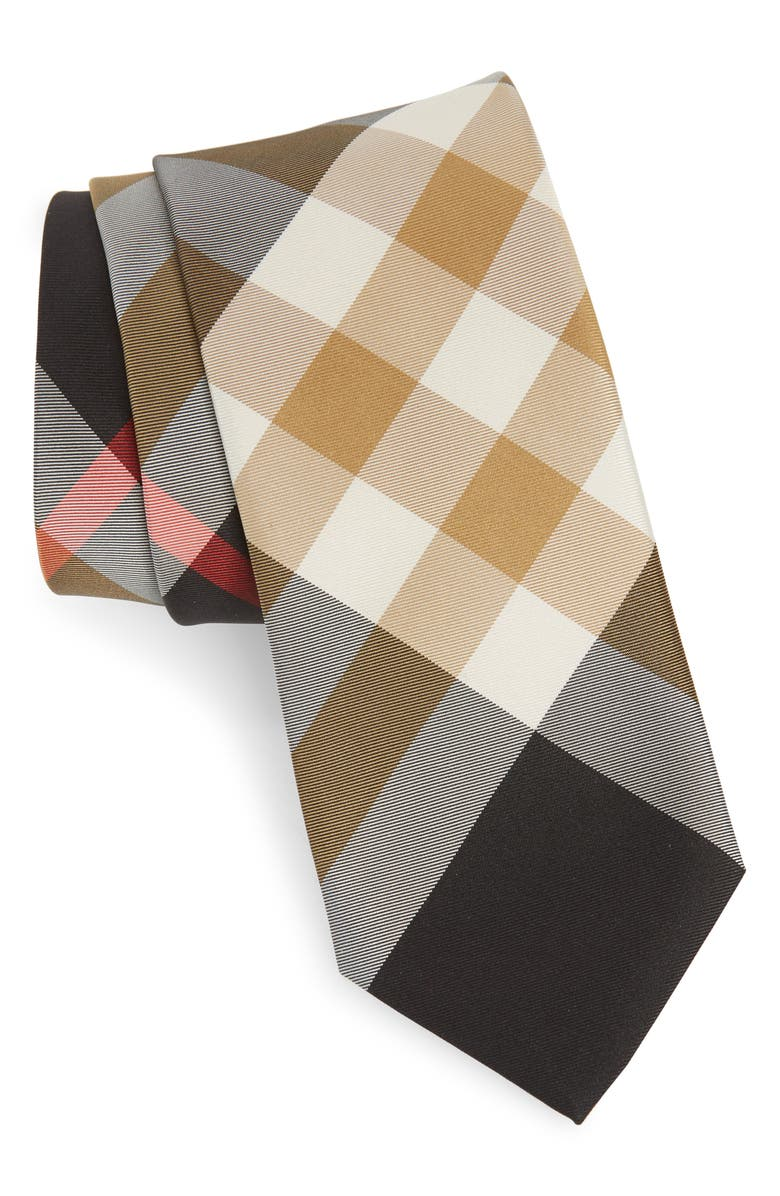 BURBERRY Manston Check Silk Blend Tie, Main, color, 001