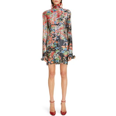 Givenchy Bloom Long Sleeve Plisse Minidress, US / 40 FR - Red