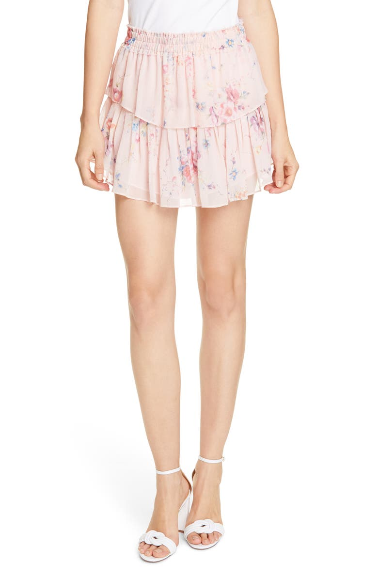 07e954159 LoveShackFancy Ruffle Floral Silk Miniskirt | Nordstrom