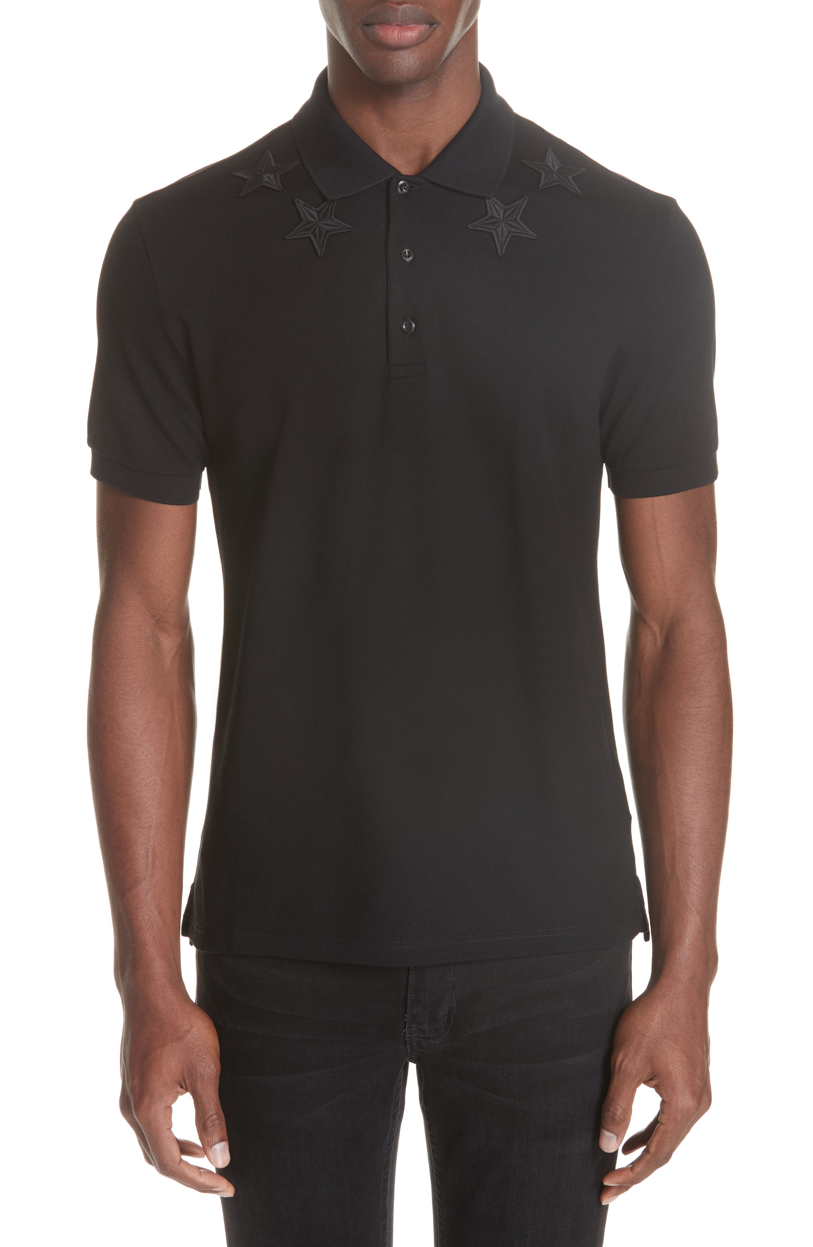 ,                             Star Polo Shirt,                             Main thumbnail 1, color,                             FADED BLACK