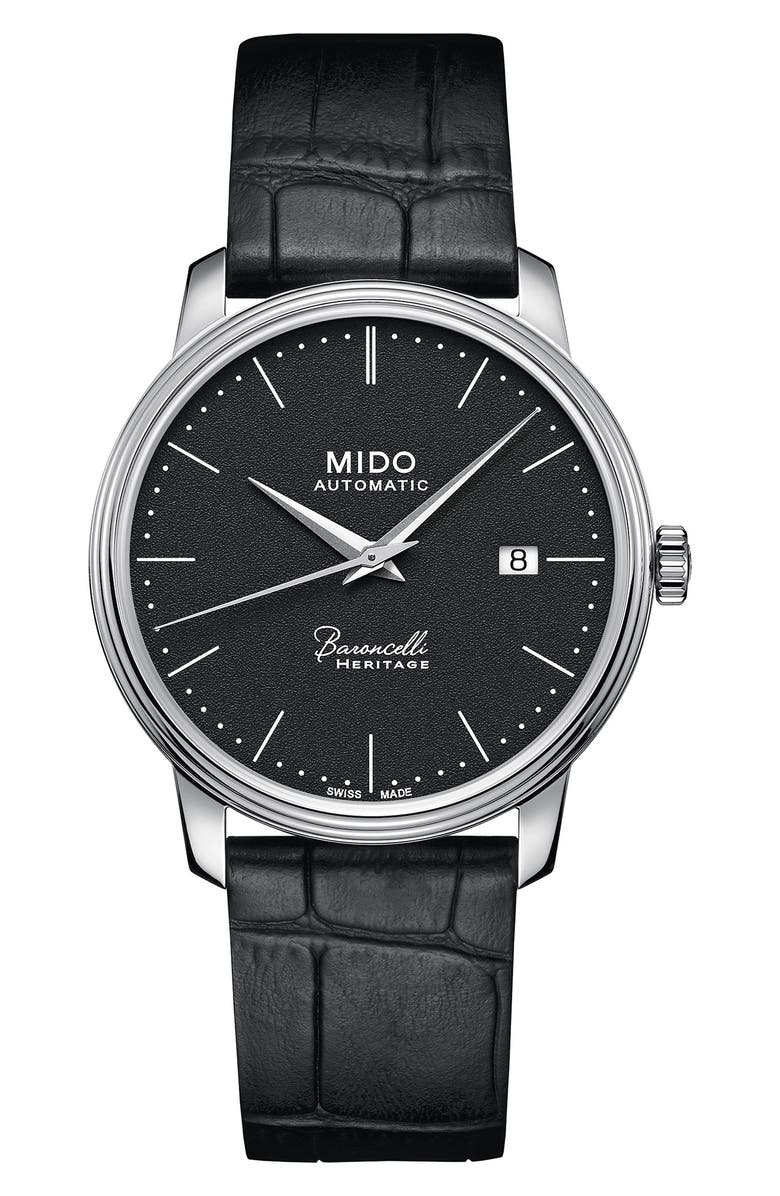 MIDO Baroncelli Heritage Automatic Leather Strap Watch, 39mm, Main, color, BLACK/ SILVER