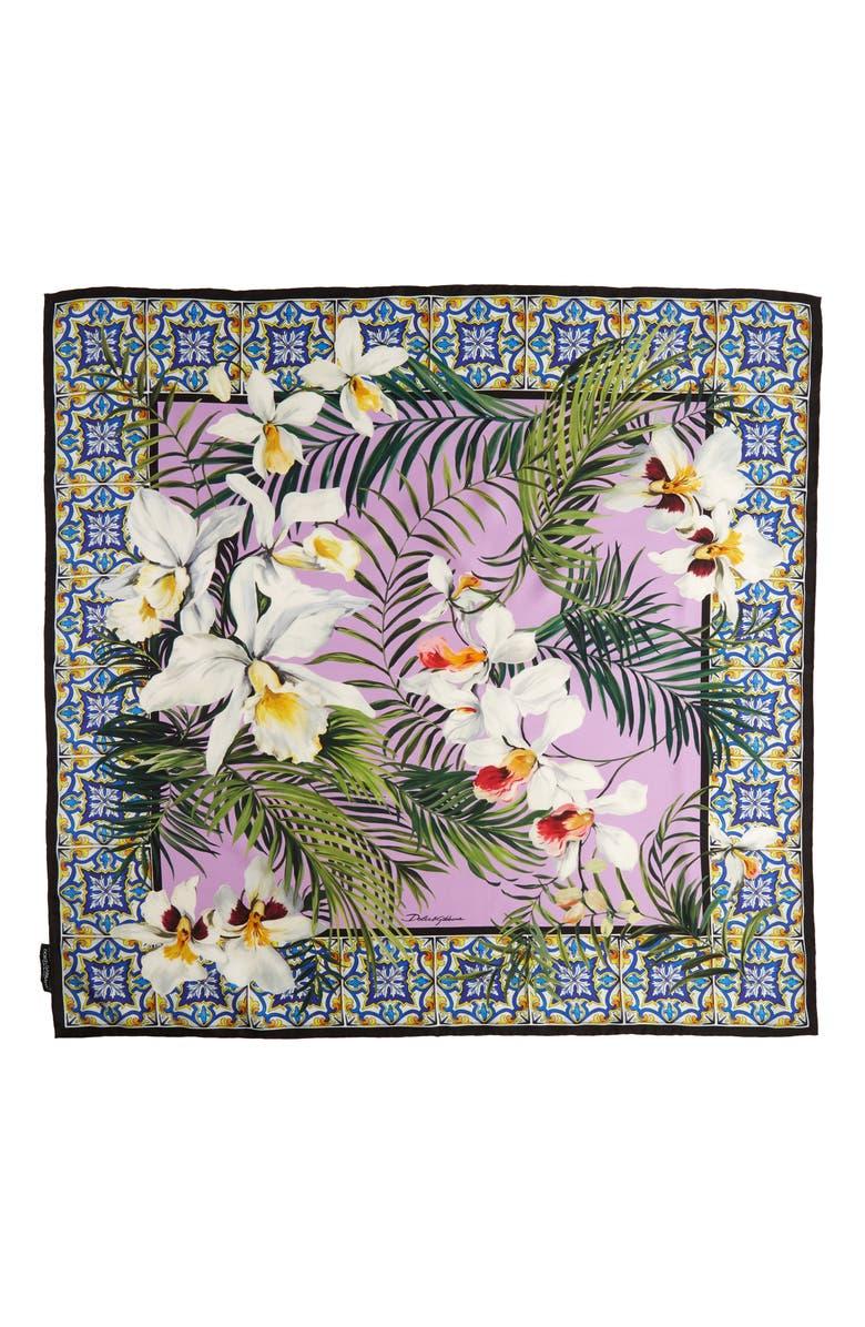 DOLCE&GABBANA Orchid & Maiolica Print Silk Scarf, Main, color, 400
