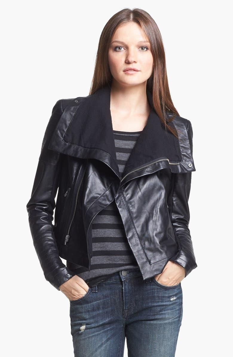 VEDA 'Max' Leather Moto Jacket, Main, color, BLACK