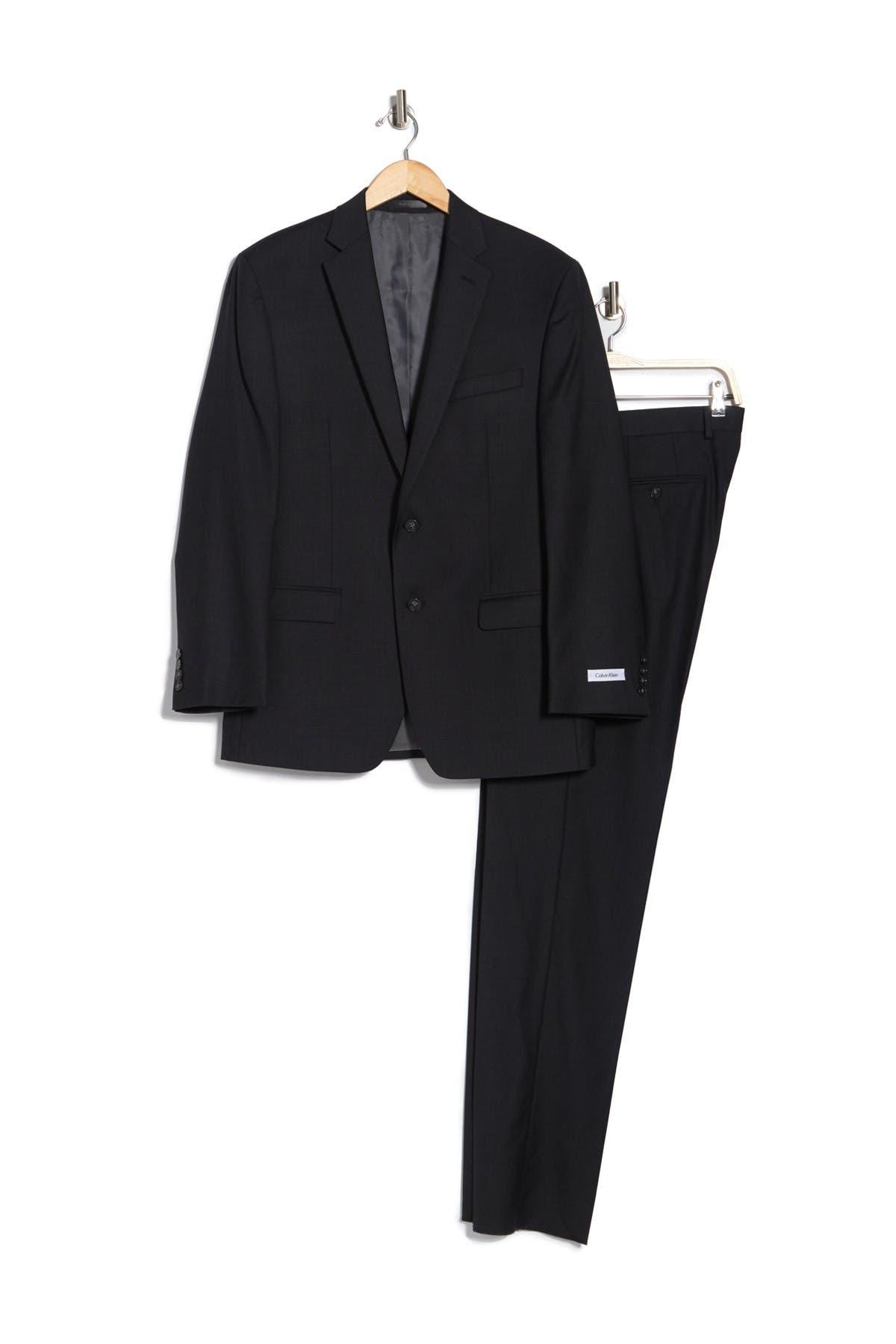 Image of Calvin Klein Black Two Button Notch Lapel Wool Suit