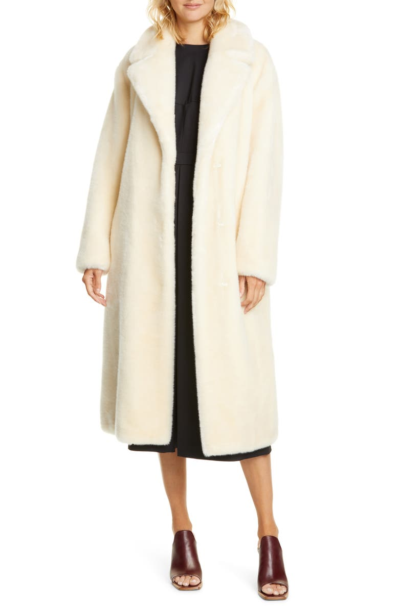 TIBI Belted Faux Fur Coat, Main, color, CREAM