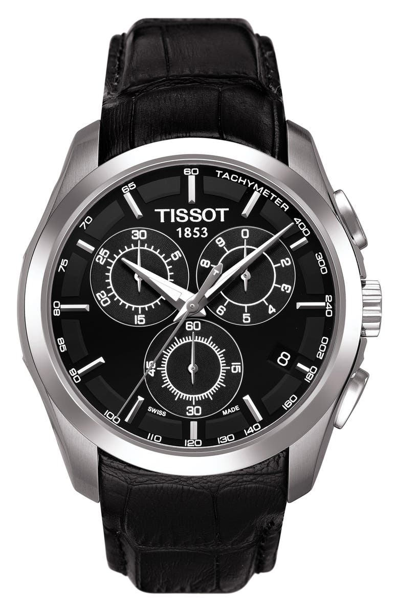 TISSOT Couturier Chronograph Leather Strap Watch, 41mm, Main, color, BLACK/ SILVER