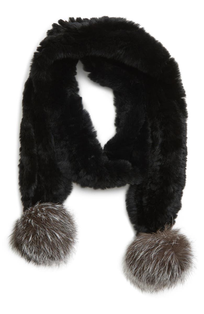 JOCELYN Genuine Rabbit Fur Skinny Scarf with Genuine Fox Fur Poms, Main, color, 001