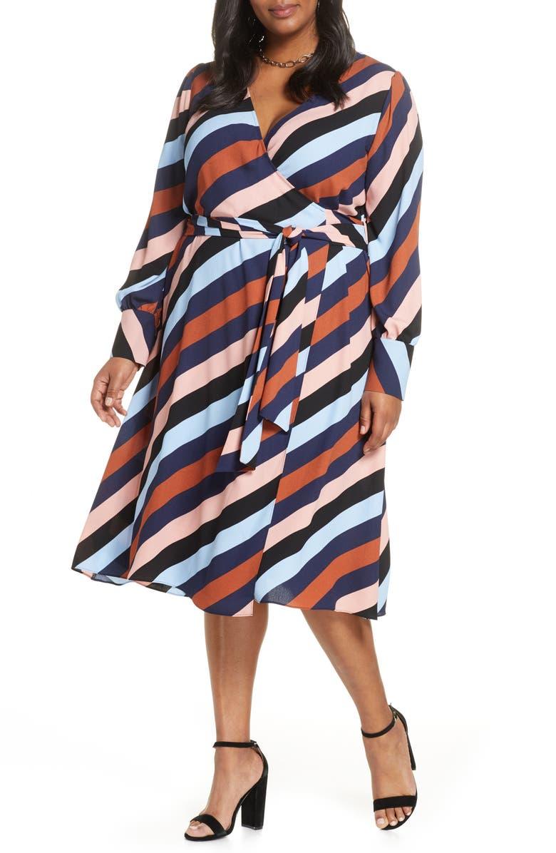 HALOGEN<SUP>®</SUP> Long Sleeve Midi Wrap Dress, Main, color, BLACK BIAS STRIPE