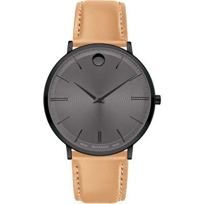 Movado Ultra Slim Leather Strap Watch, 40Mm