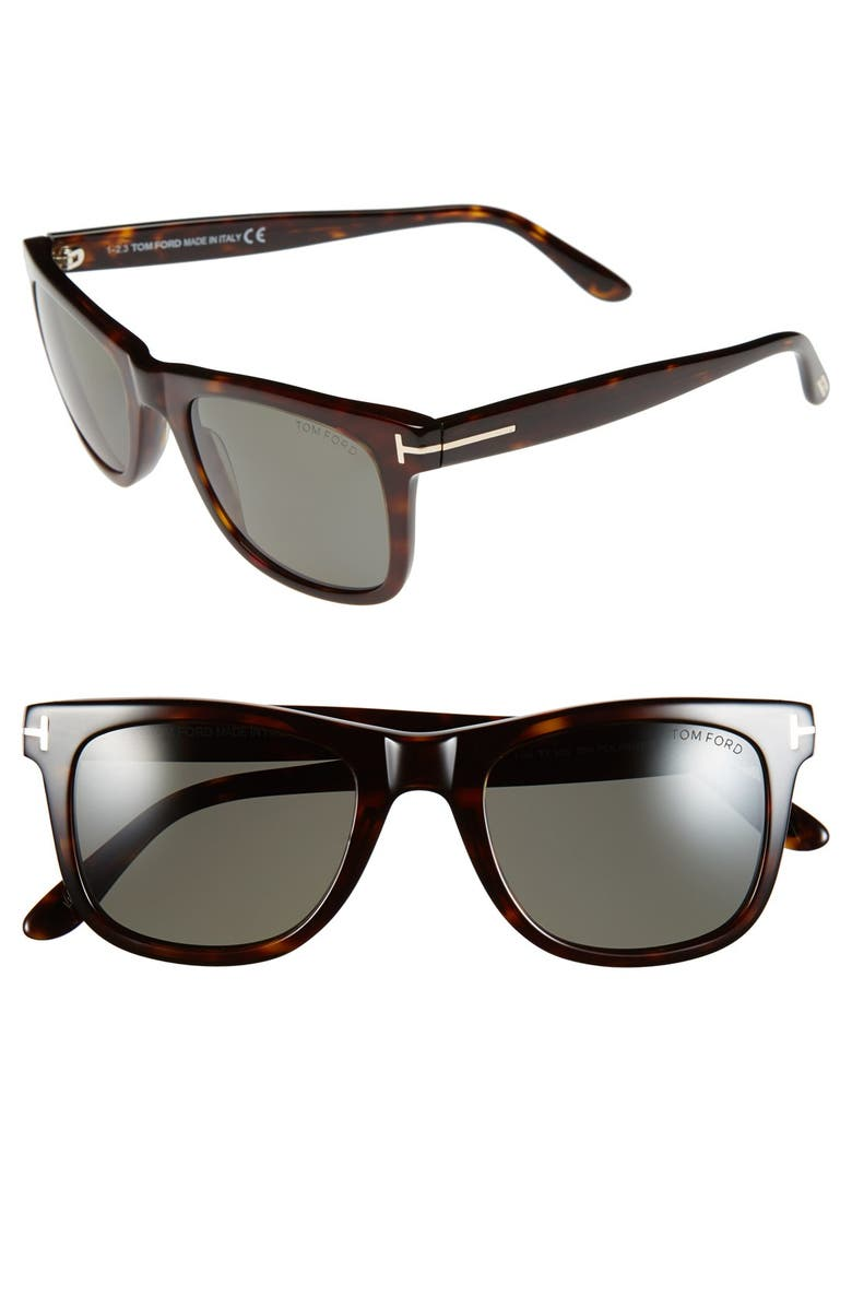 TOM FORD Leo 52mm Polarized Sunglasses, Main, color, SHINY CLASSIC HAVANA