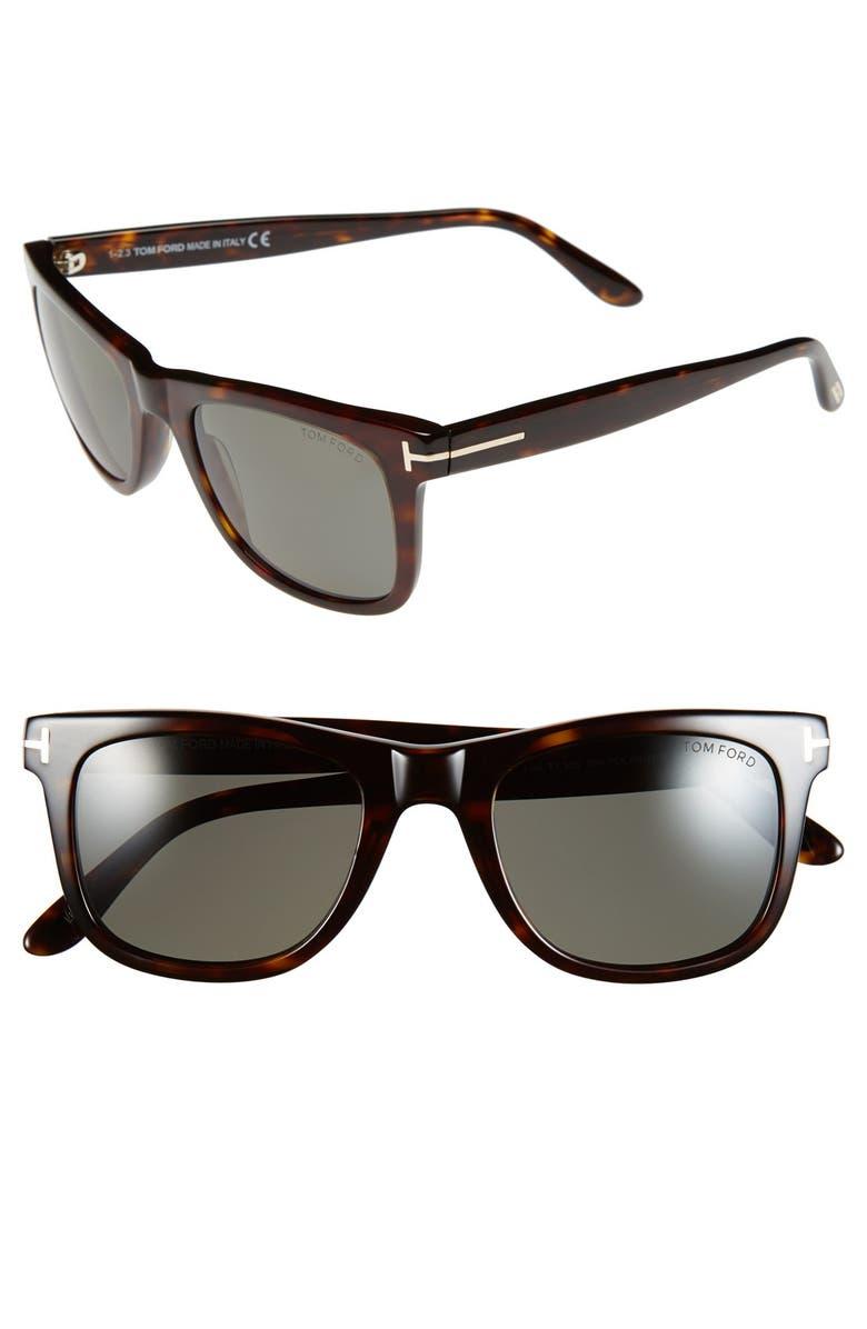 TOM FORD 'Leo' 52mm Polarized Sunglasses, Main, color, SHINY CLASSIC HAVANA