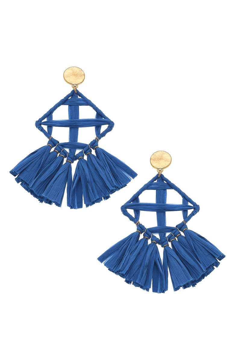CANVAS JEWELRY Calista Statement Earrings, Main, color, BLUE