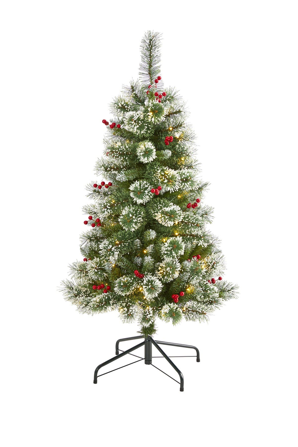 Image of NEARLY NATURAL 4ft. Frosted Swiss Pine Artificial Christmas Tree