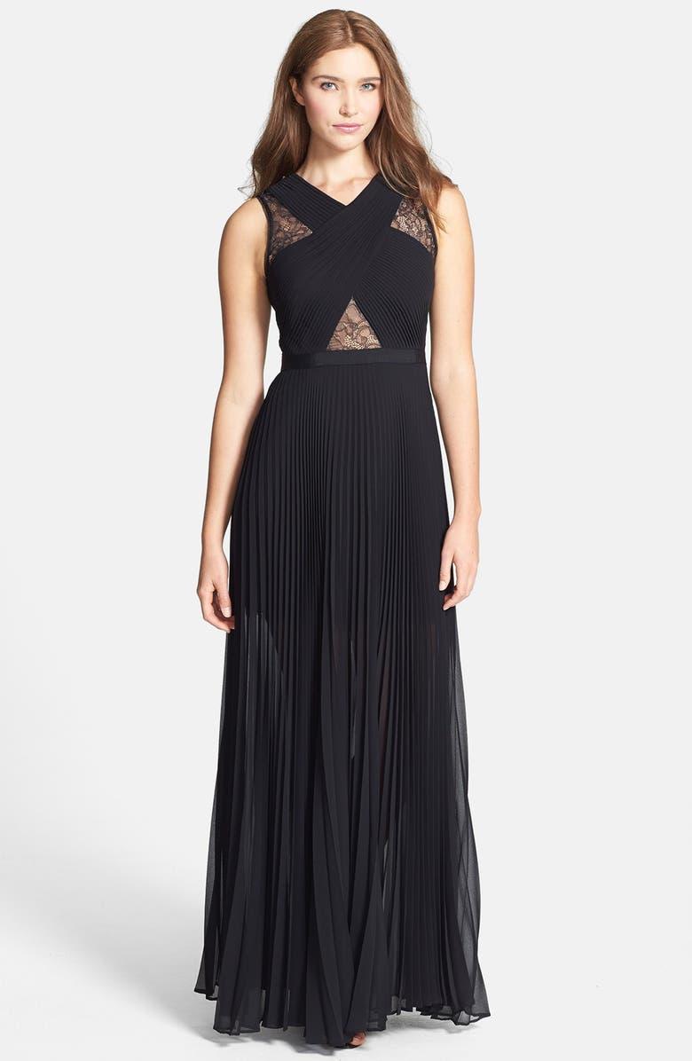 6f7418718734 BCBGMAXAZRIA 'Caia' Lace Inset Pleat Chiffon Gown | Nordstrom