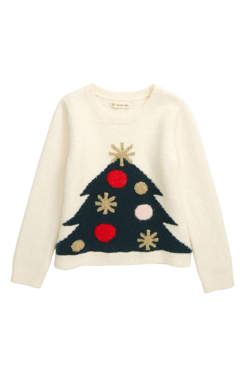 TUCKER + TATE Holiday Tree Sparkle Intarsia Sweater, Main, color, IVORY EGRET WHIMSY TREE
