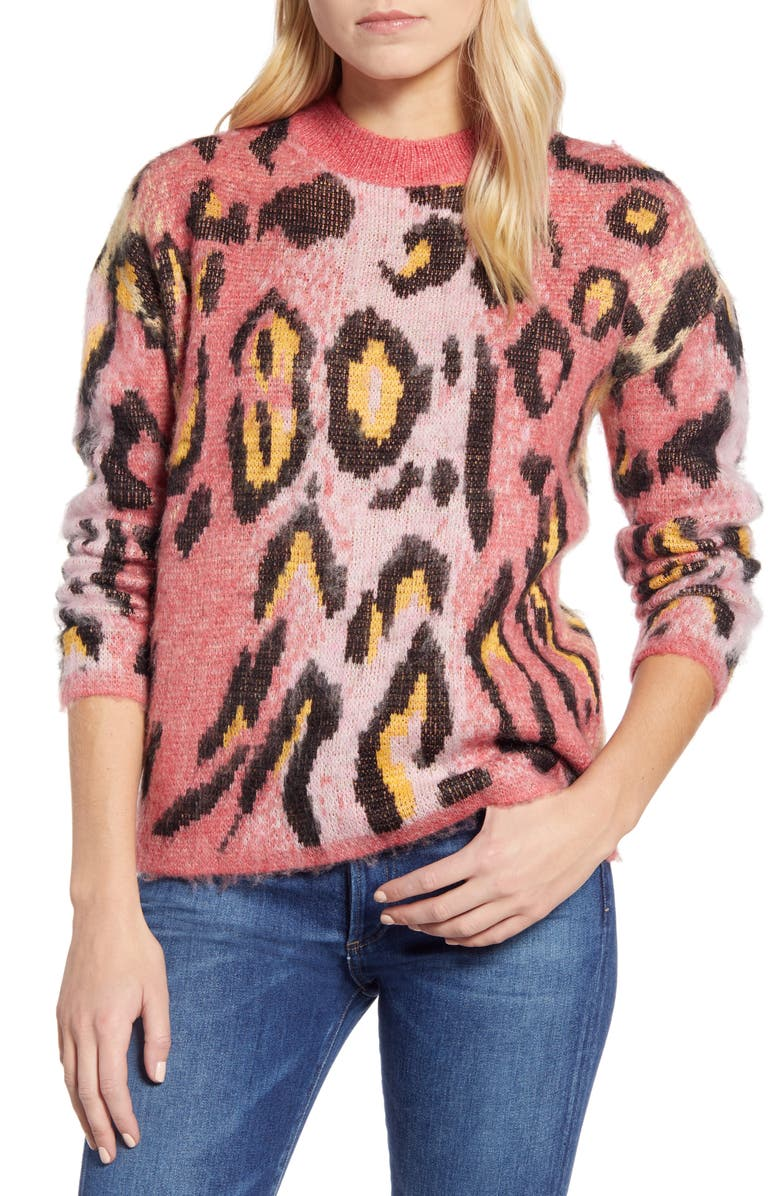 RD STYLE Leopard Jacquard Sweater, Main, color, PINK