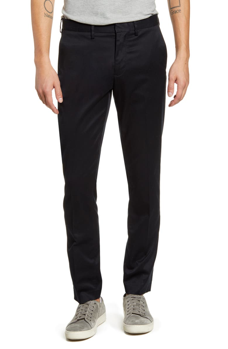 NORDSTROM MEN'S SHOP Slim Fit Non-Iron Chinos, Main, color, BLACK