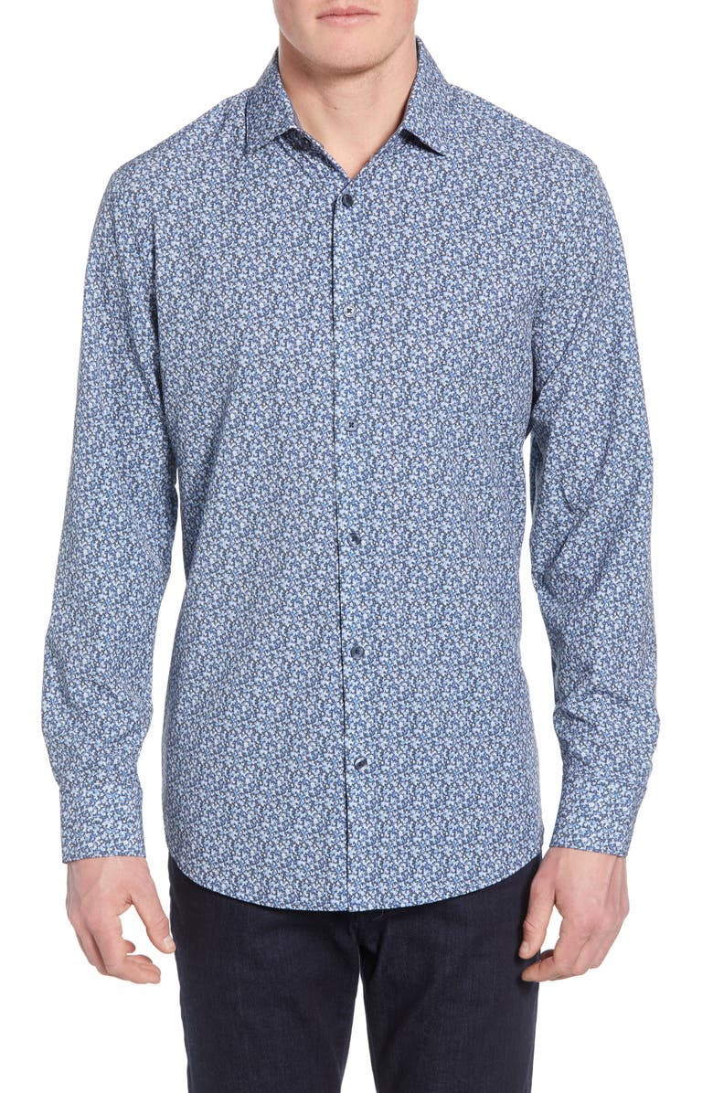 Robinson Trim Fit Print Performance Sport Shirt by Mizzen+Main