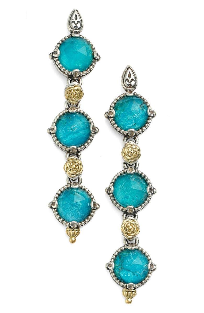 KONSTANTINO 'Iliada' Triple Drop Earrings, Main, color, BLUE/ GREEN