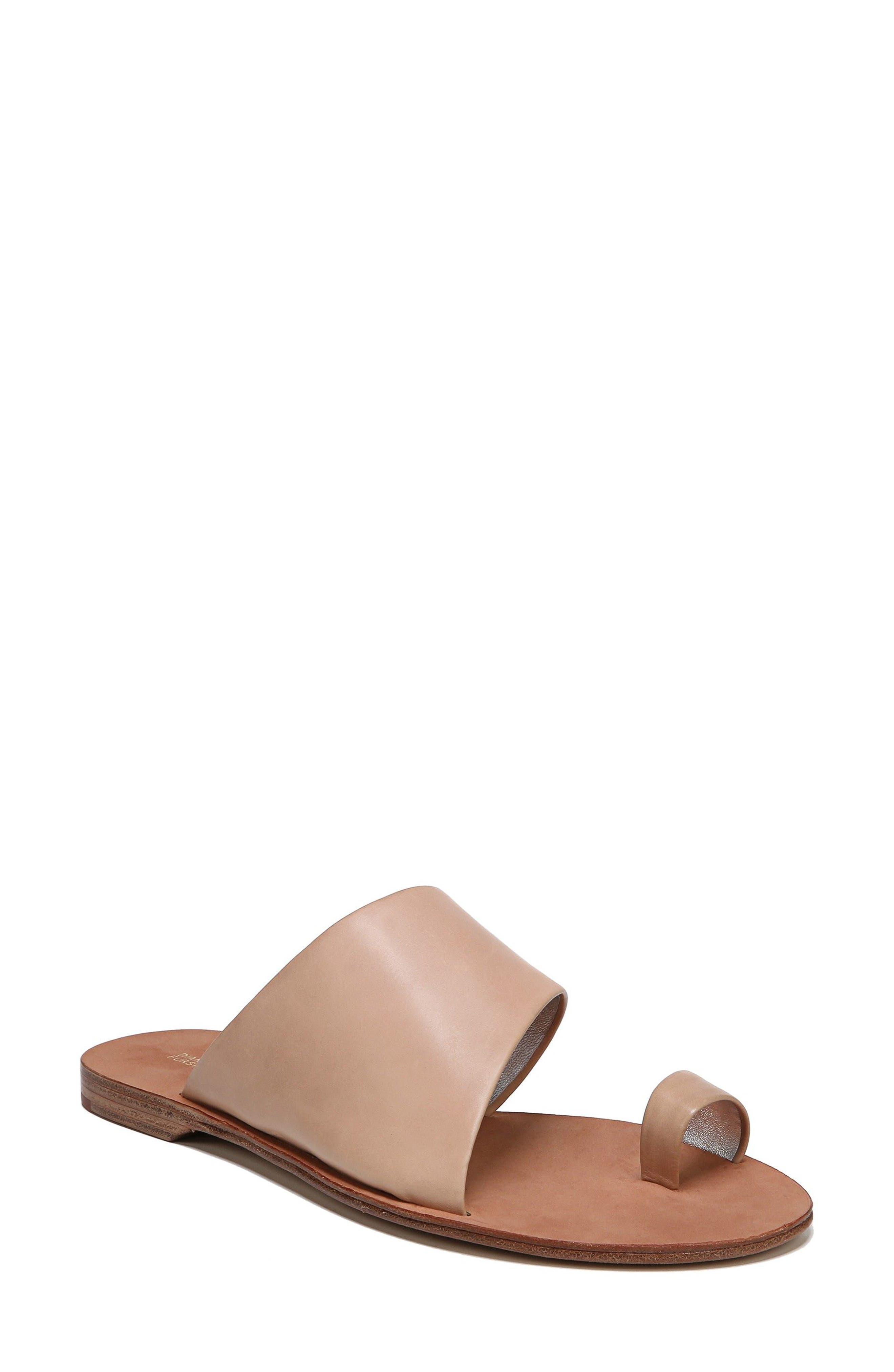 Diane Von Furstenberg Brittany Asymmetrical Flat Sandal, Brown