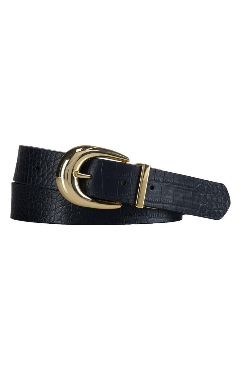 LAUREN RALPH LAUREN Croc Embossed Reversible Leather Belt, Main, color, 001
