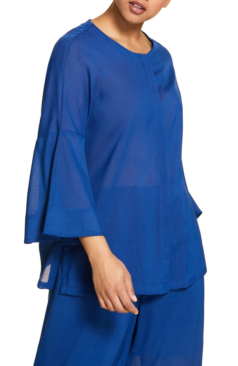 MARINA RINALDI Flounce Sleeve Jacket, Main, color, BLUE PEACOCK