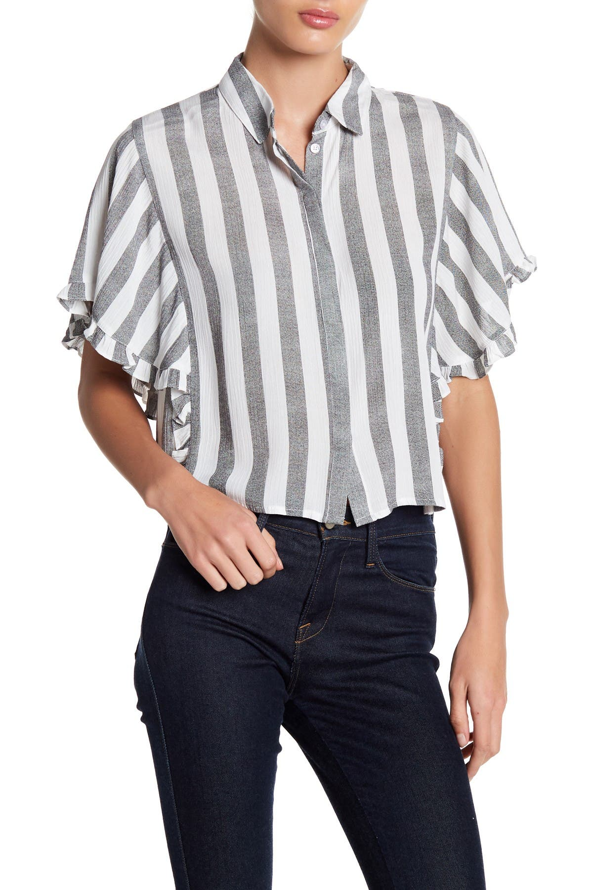 Image of Elodie Ruffle Sleeve Button Down Shirt