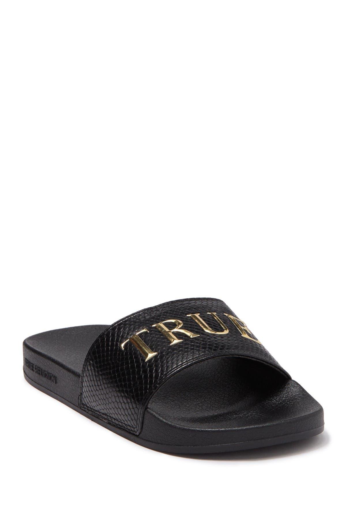 Image of True Religion Mirri Snakeskin Embossed Slide Sandal