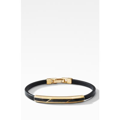 David Yurman Faceted Id Leather Bracelet With Forged Carbon & 18K Gold