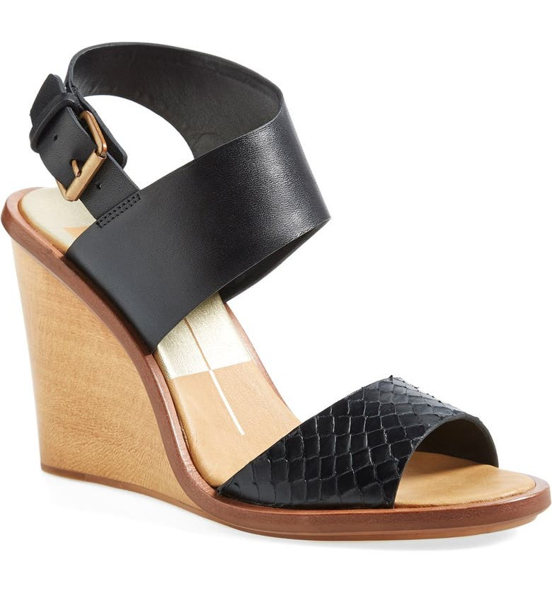 DOLCE VITA 'Jodi' Snake Embossed Leather Wedge Sandal, Main, color, 001