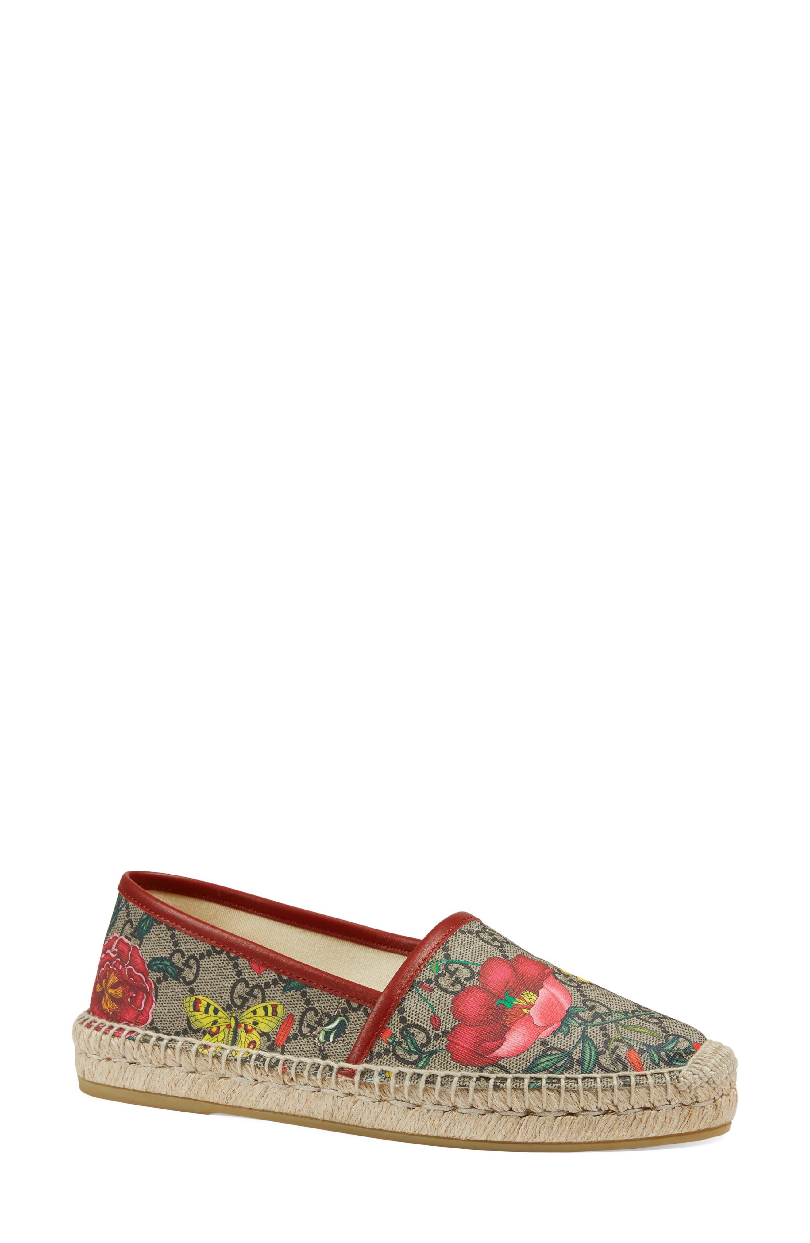 Gucci Pilar Floral GG Supreme Espadrille Flat (Women)